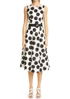 Akris punto Belted Polka Dot Fil Coupé Midi Dress