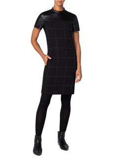 Akris punto Faux Leather Yoke Pebble Crepe Dress