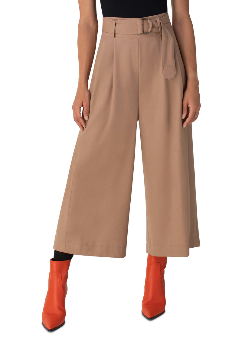 Akris punto Fiorella Belted Wool Flannel Culottes