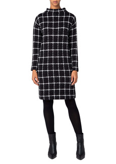 Akris punto Grid Check Long Sleeve Jersey Dress