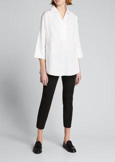 Akris punto Kimono-Sleeve Split-Neck Blouse  White