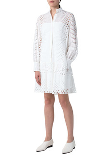 Akris punto Long Sleeve Cotton Eyelet Dress