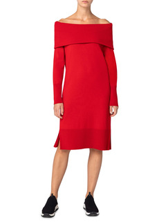 Akris punto Off the Shoulder Long Sleeve Sweater Dress