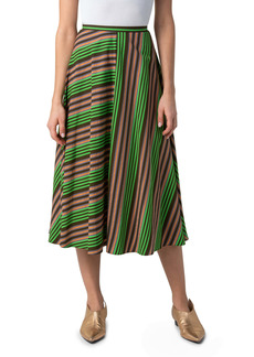 Akris punto Patchwork Stripe Midi Skirt
