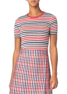Akris punto Rib Stripe Short Sleeve Sweater