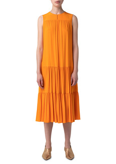 Akris punto Sleeveless Tiered Midi Dress