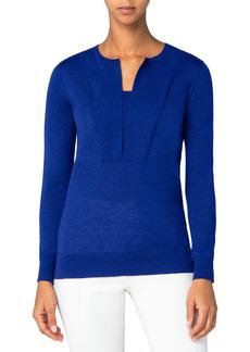 Akris punto Split Neck Merino Wool Sweater