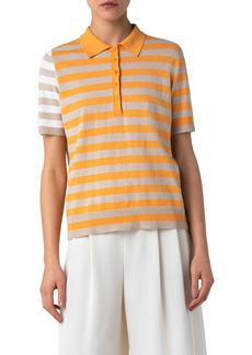 Akris punto Stripe Linen Blend Polo Sweater