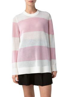 Akris punto Wide Stripe Crochet Sweater