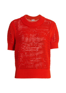 Akris Punto Crocheted Short Sleeve Chunky Knit Sweater
