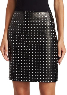 Akris Punto Leather Front Polka Dot Skirt