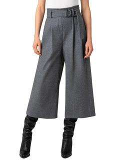 Women's Akris Punto Fiorella Belted Wool Blend Flannel Culottes