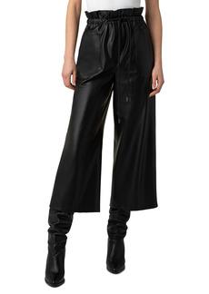 Women's Akris Punto Frey Paperbag Waist Faux Leather Culottes