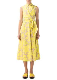 Women's Akris Punto Magnolia Print Faux Wrap Cotton Poplin Dress