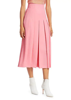 Akris Punto Wool Twill Pleat Front Skirt