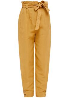 Alberta Ferretti Woman Belted Linen And Silk-blend Twill Tapered Pants Mustard