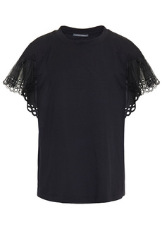 Alberta Ferretti Woman Broderie Anglaise Organza-paneled Cotton-jersey T-shirt Black
