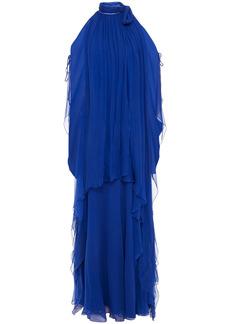 Alberta Ferretti Woman Cold-shoulder Draped Silk-chiffon Gown Royal Blue
