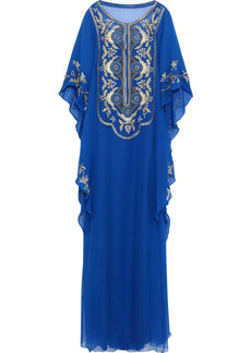 Alberta Ferretti Woman Embellished Silk-chiffon Gown Cobalt Blue