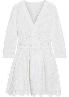 Alberta Ferretti Woman Flared Broderie Anglaise Cotton-blend Mini Dress White