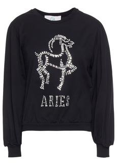 Alberta Ferretti Woman Love Me Starlight Aries Embellished Organic Cotton-jersey Sweatshirt Black