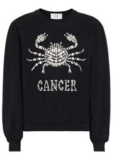 Alberta Ferretti Woman Love Me Starlight Cancer Embellished Organic Cotton-jersey Sweatshirt Black