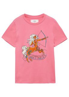 Alberta Ferretti Woman Love Me Starlight Sagittarius Printed Organic Cotton-jersey T-shirt Bubblegum