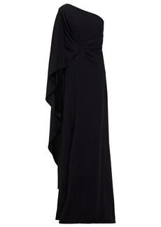 Alberta Ferretti Woman One-shoulder Draped Cady Gown Black