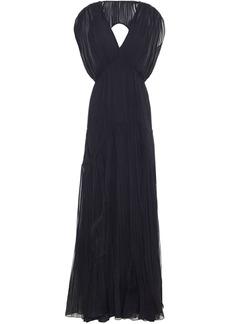 Alberta Ferretti Woman Open-back Pleated Silk-chiffon Gown Black