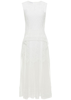 Alberta Ferretti Woman Paneled Guipure Lace And Chiffon Midi Dress White