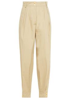 Alberta Ferretti Woman Pleated Cropped Cotton-blend Twill Tapered Pants Beige