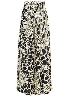 Alberta Ferretti Woman Pleated Printed Silk Crepe De Chine Wide-leg Pants Ivory