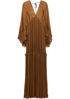 Alberta Ferretti Woman Plissé Silk-blend Charmeuse Gown Light Brown