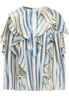 Alberta Ferretti Woman Ruffled Striped Silk-blend Lamé Blouse Ivory