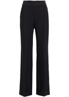 Alberta Ferretti Woman Satin-trimmed Crepe Wide-leg Pants Black