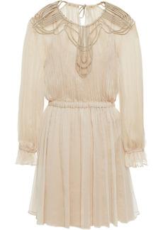 Alberta Ferretti Woman Satin-trimmed Silk-crepon And Tulle Mini Dress Beige