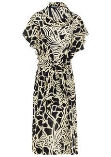 Alberta Ferretti Woman Tie-front Printed Silk Crepe De Chine Dress Ivory