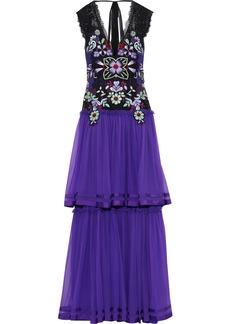 Alberta Ferretti Woman Tiered Embellished Lace-paneled Silk-chiffon Gown Violet