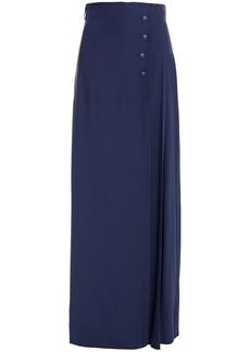 Alberta Ferretti Woman Wrap-effect Pleated Cady Wide-leg Pants Navy