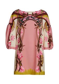Alberta Ferretti Printed Puff-Sleeve Mini Dress