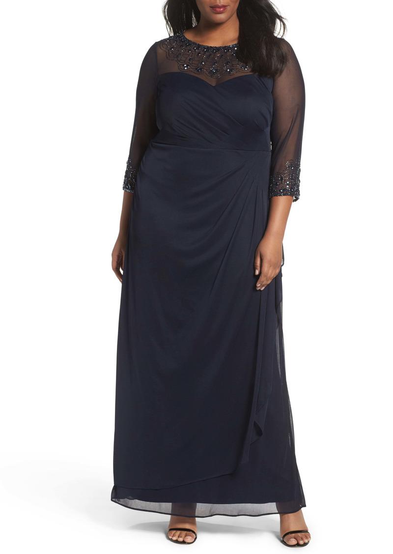 Alex Evenings Beaded Illusion Neck A-Line Gown (Plus Size)
