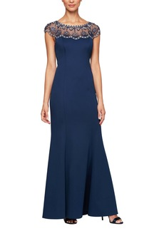 Alex Evenings Beaded Illusion Neck Trumpet Gown