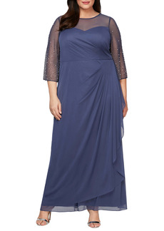 Alex Evenings Beaded Sleeve A-Line Gown (Plus Size)