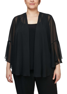 Alex Evenings Bell Sleeve Chiffon Cover-Up Jacket (Plus Size)