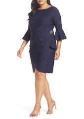 Alex Evenings Bell Sleeve Sheath Dress (Plus Size)