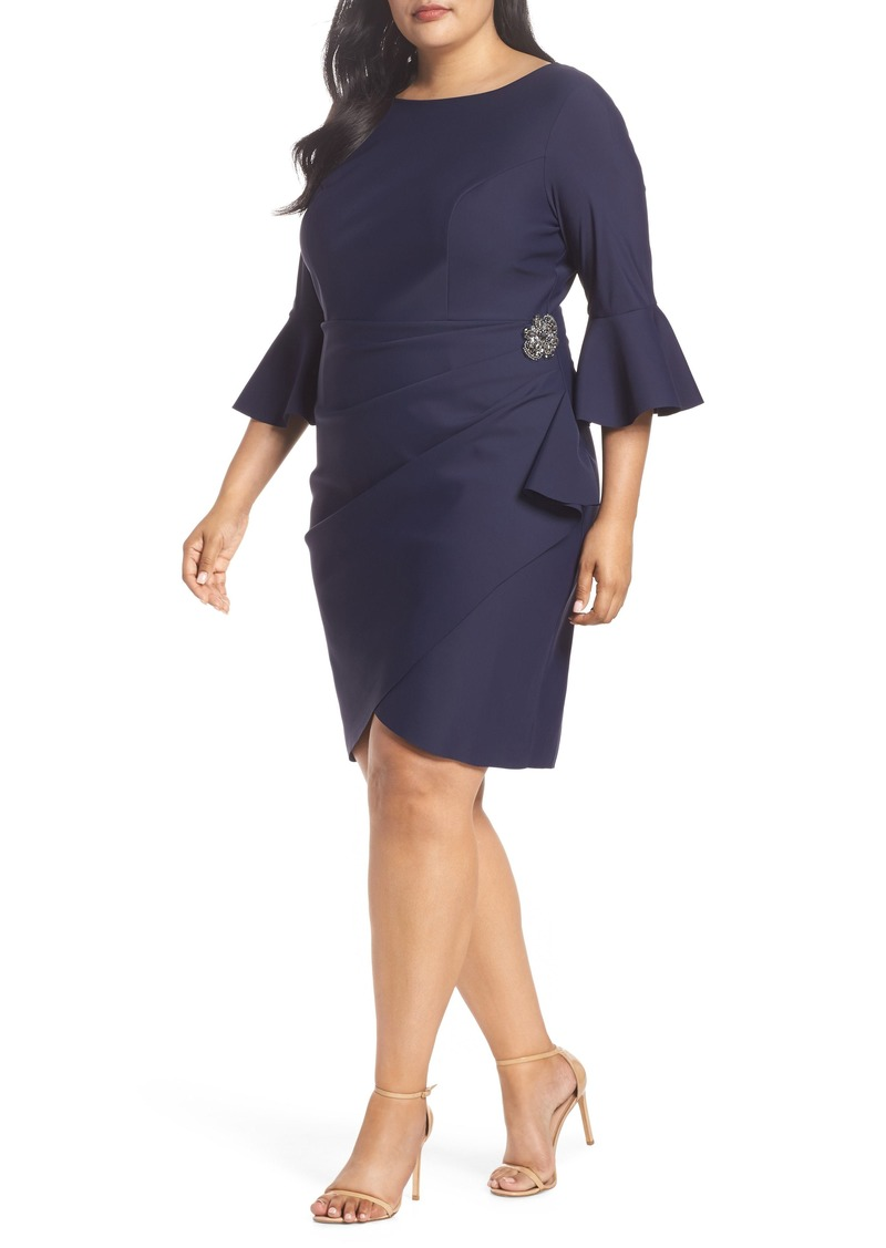 Alex Evenings Bell Sleeve Sheath Dress (Plus Size)