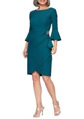 Alex Evenings Bell Sleeve Sheath Dress (Regular & Petite)