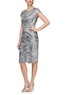 Alex Evenings Cap Sleeve Sequin Embroidered Sheath Dress (Regular & Petite)