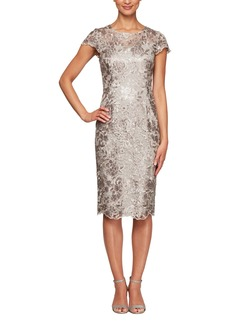 Alex Evenings Cap Sleeve Sequin Embroidered Sheath Dress (Regular & Petite)