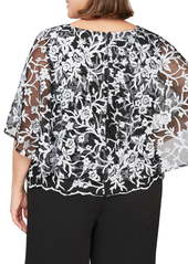 Alex Evenings Capelet Sleeve Embroidered Blouse (Plus Size)